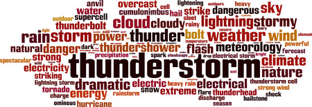 Thunderstorm word cloud concept. Vector illustrationのイラスト素材