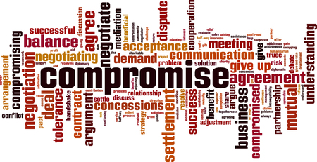Compromise word cloud concept  Collage made of words about