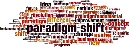 Paradigm shift word cloud concept. Collage made of words about paradigm shift. Vector illustration