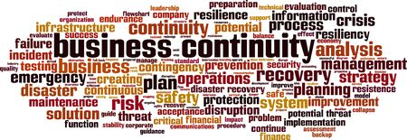 Illustration pour Business continuity word cloud concept. Collage made of words about business continuity. Vector illustration - image libre de droit