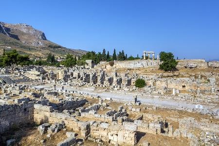 ruins of Ancient Corinth in summer, Greece