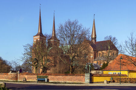 Roskilde Cathedral is a cathedral of the Lutheran Church of Denmark.  The first Gothic cathedral to be built of brick, it encouraged the spread of the Brick Gothic style throughout Northern Europe.