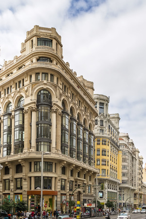 Gran Via (literally Great Way) is an ornate and upscale shopping street located in central Madrid, Spain