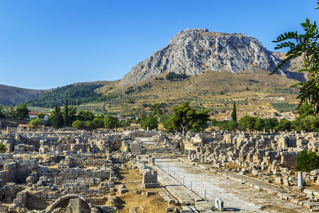 view of ruins of Ancient Corinth in Greece