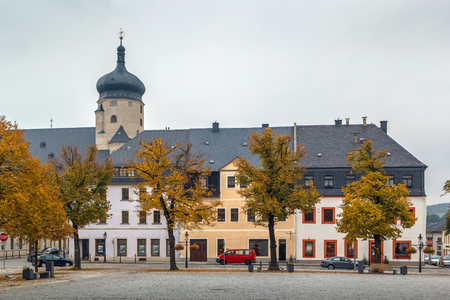 Main square with church tower in Marienberg, Germany
