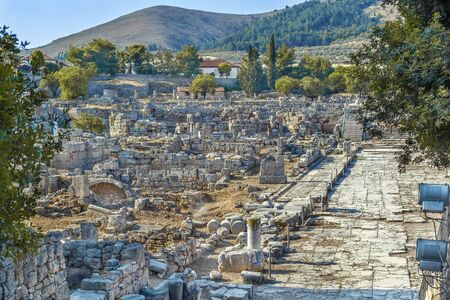 View of ruins of Ancient Corinth, Greece