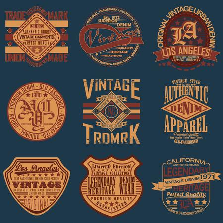 Illustration pour Set of Vintage typography, t-shirt graphics, apparel stamps, tee print design, vintage emblems of denim goods - image libre de droit
