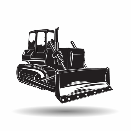 Heavy bulldozer machine monochrome icon, on white background, vector