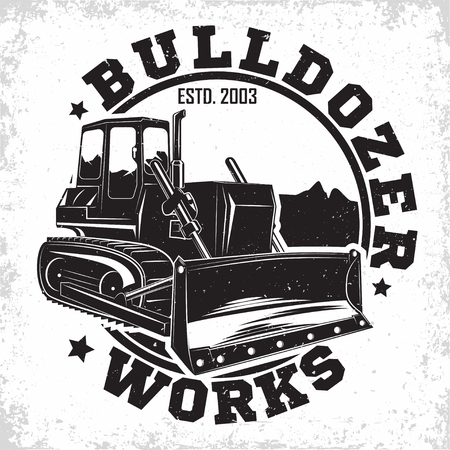 Excavation work logo design, emblem of bulldozer or building machine rental organisation print stamps, constructing equipment, Heavy bulldozer machine typographyv emblem, Vector