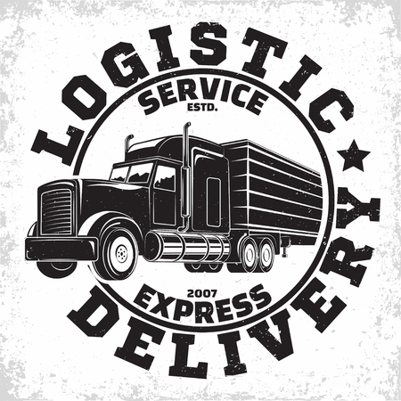 Illustration pour Trucking company logo design, emblem of truck rental organisation, delivery firm print stamps, Heavy truck typography emblem, Vector - image libre de droit