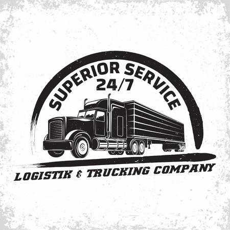 Illustration pour Trucking company logo design, emblem of truck rental organisation, delivery firm print stamps, Heavy truck typography emblem, Vector - image libre de droit