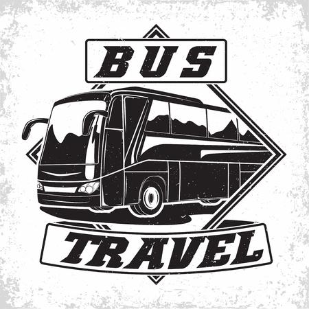 Illustration pour Bus travel company logo design, emblem of excursion or tourist bus rental organisation, travel agency print stamps, bus typography emblem, Vector - image libre de droit
