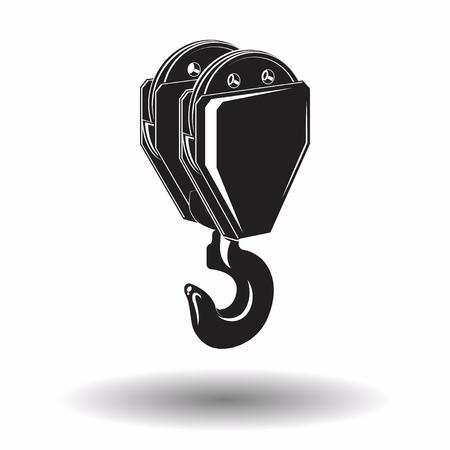 Ilustración de Monochrome crane hook  icon isolated on white background with shadow, lifting equipment, vector illustration - Imagen libre de derechos