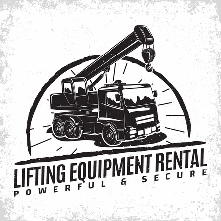 Ilustración de Lifting work logo design, emblem of crane machine rental organisation print stamps, constructing equipment, Heavy crane machine typographyv emblem, Vector illustration - Imagen libre de derechos