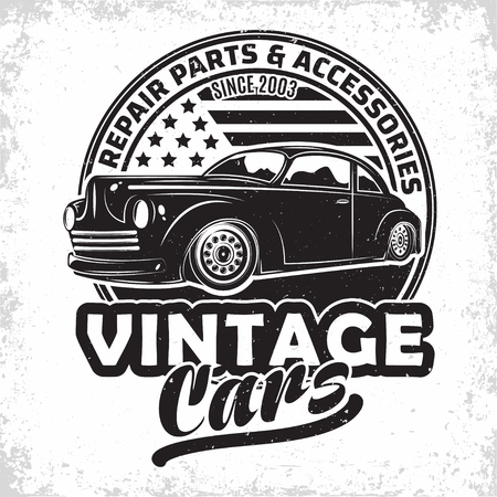 Illustration for Hot Rod garage logo design, emblem of muscle car repair and service organisation, retro car garage print stamps, hot rod typography emblem, Vector - Royalty Free Image