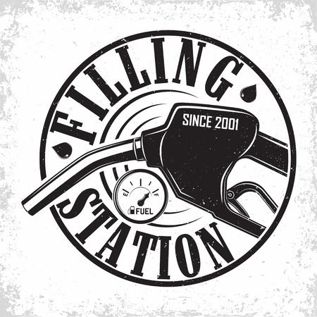 Illustration pour Vintage Petrol station design, emblem of gasoline station, Gas or diesel filling station typography emblem, print stamps with easy removable grange, Vector - image libre de droit
