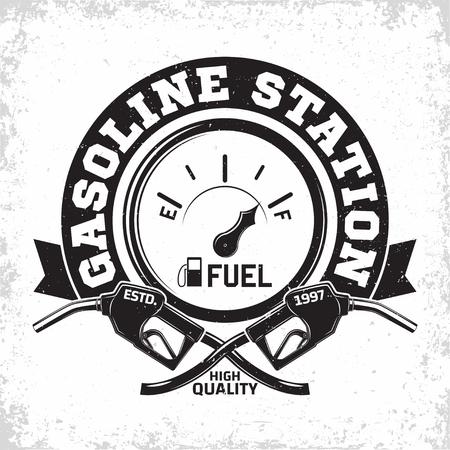 Illustration pour Vintage Petrol station logo design, emblem of gasoline station, Gas or diesel filling station typographyv emblem, print stamps with easy removable grange, Vector - image libre de droit
