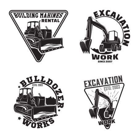 Illustration for Set of Excavation work emblems design, emblems of bulldozer or building machine rental organization print stamps, constructing equipment, Heavy bulldozer machine typographyv emblems, Vector - Royalty Free Image