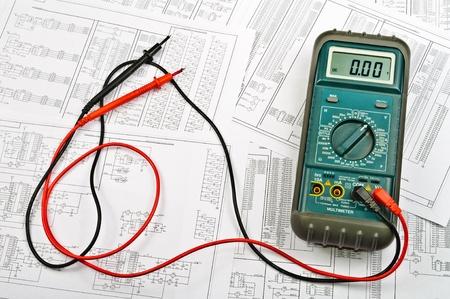 Photo pour Several schemes of electric and electrical tester - image libre de droit