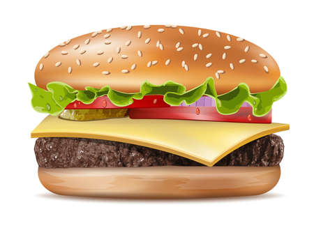 Illustration pour Vector Realistic Hamburger Classic Burger American Cheeseburger with Lettuce Tomato Onion Cheese Beef and Sauce Close up isolated on white Background. Fast Food - image libre de droit