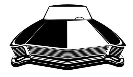 Illustration pour Retro muscle car vector illustration. Vintage poster of reto car. Old mobile isolated on white - image libre de droit