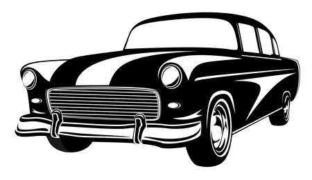 Illustration for Retro muscle car vector illustration. Vintage car. Old mobile isolated on white - Royalty Free Image