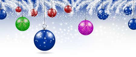 Illustration pour Merry Christmas balls background. Festive xmas decoration - image libre de droit