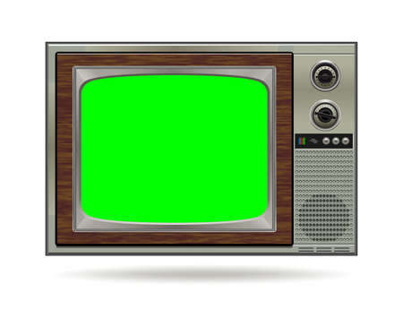 Illustration pour Realistic TV LCD screen mockup. Panel with green screen isolated on white background. Vector illustration - image libre de droit