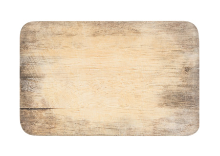 wooden chopping board with scratched surface on isolated background