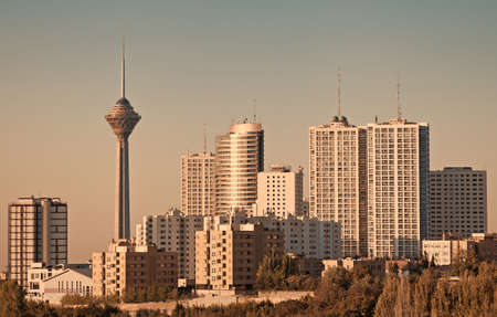 Skyline of Tehran including its famous landmark, the Milad Tower.