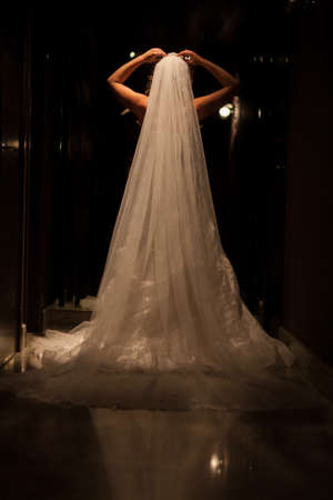 Foto per Beautiful bride in luxurious wedding dress in a dark hall. Beautiful bride with stylish make up and hair style. Young bride posing in white dress. Black and white. High quality photo - Immagine Royalty Free