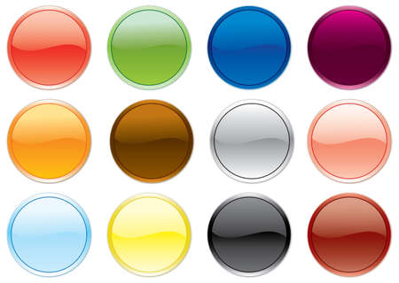 Free colored buttons set. Vector illustration.