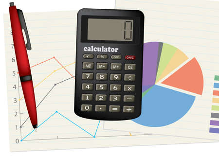 Calculator and pen. Business theme. Vector illustration.