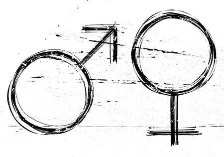 Male and  female symbols on white grunge background. Vector illustrations.