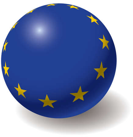 European union flag texture on ball. Design element. Isolated on white. Vector illustration.