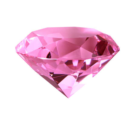 Singe pink crystal diamond. Close-up. Isolated on white background..