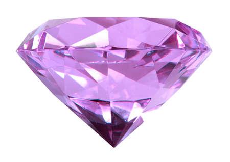 Singe purple crystal diamond. Close-up. Isolated on white background.