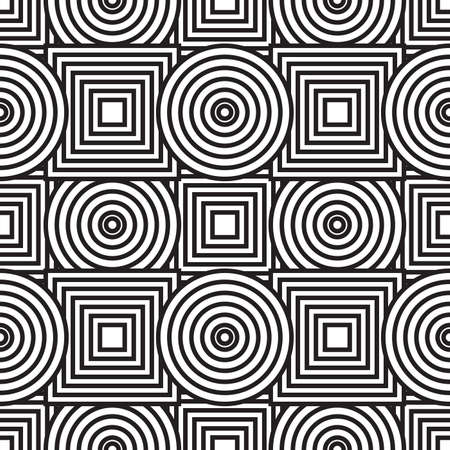 Black-and-white abstract background with circles and squares. Seamless pattern.  illustration.