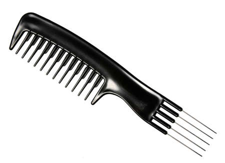 Single black professional comb. Close-up. Isolated on white background. Studio photography.