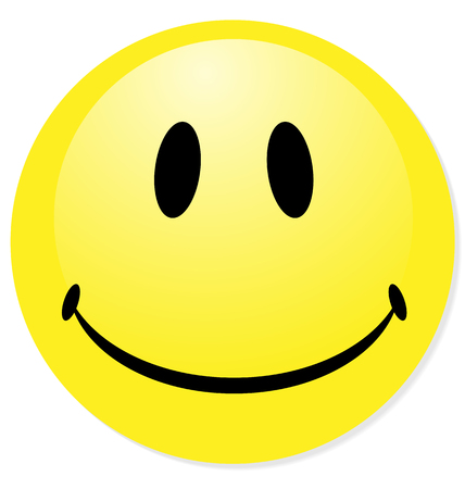 Vector smiley yellow emoticon. Perfect for icon, button, badge. Blend shadow.