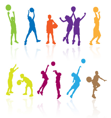 Silhouettes of children jumping and playing basketball with reflections. Easy to edit, any size.