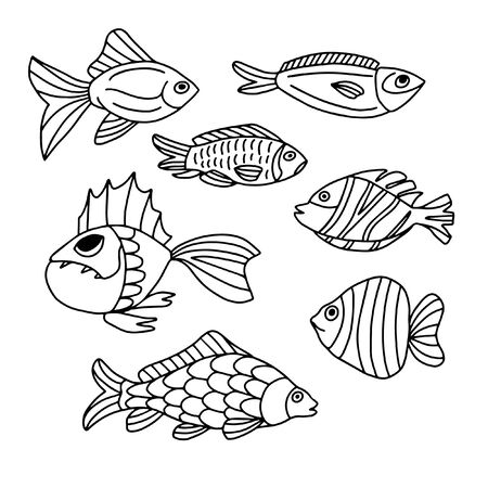 Illustration pour Set of fish on a white background in doodle style. For decorating dishes, covers, blac and white illustrations - image libre de droit