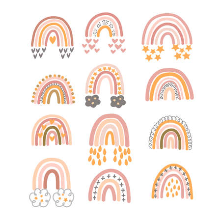 Illustration pour Set of pastel brown rainbows with ornament in vector graphics on a white background. For the design of postcards, posters, prints for children clothing, wrapping paper, notebook covers - image libre de droit