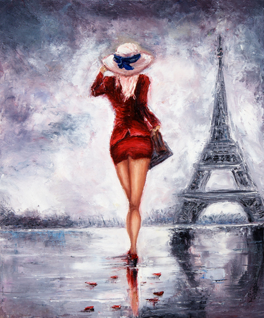 Photo pour Original oil painting showing beautiful young woman in red dress and white cappella hat walking towards the Eiffel tour in Paris on canvas. Modern Impressionism, modernism,marinism - image libre de droit