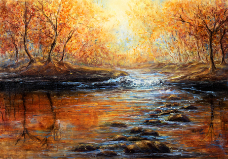 Foto de Original  oil painting of beautiful autumn forest and river  on canvas.Modern Impressionism, modernism,marinism  - Imagen libre de derechos