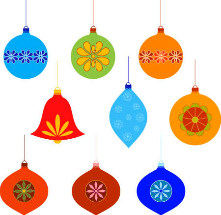 Isolated Christmas Tree Ornaments Vectors