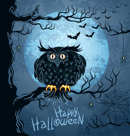 Grungy halloween background with terrible owl, full moon, bats and spiders