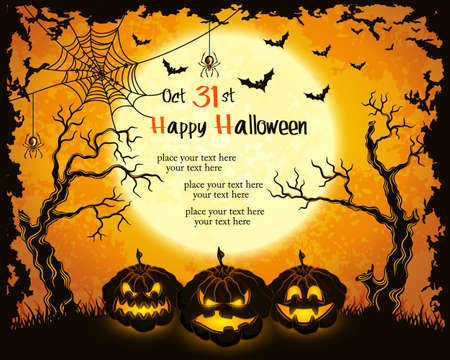 Scary pumpkins, full moon, trees and bats. Orange grungy halloween background.Illustration.