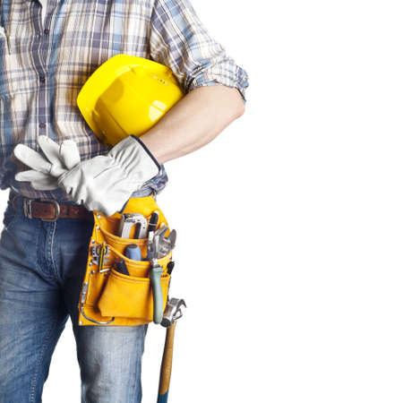 The builder on the isolated white background
