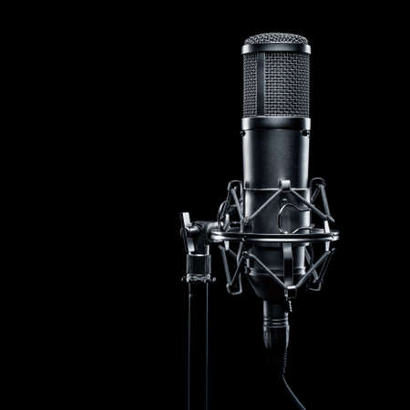 studio microphone on a black background